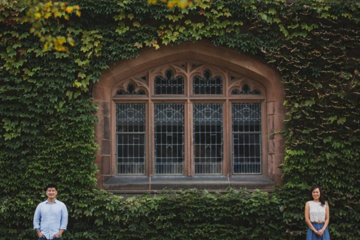 mia and stewart's engagement session photo in princeton university with vines