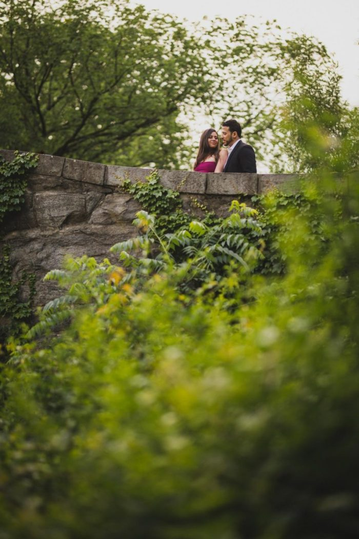 liana and omar engagement session shot in central park