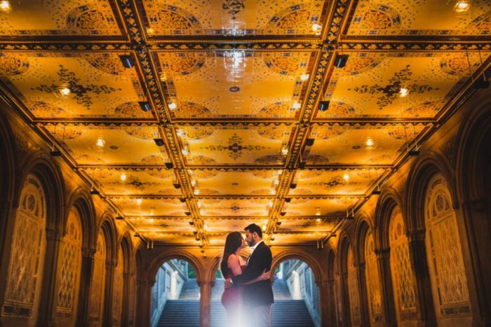 liana and omar's engagement session night shot in bethesda terrace